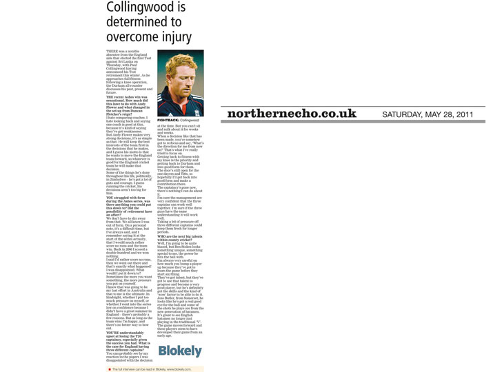 Paul Collingwood interview - Northern Echo