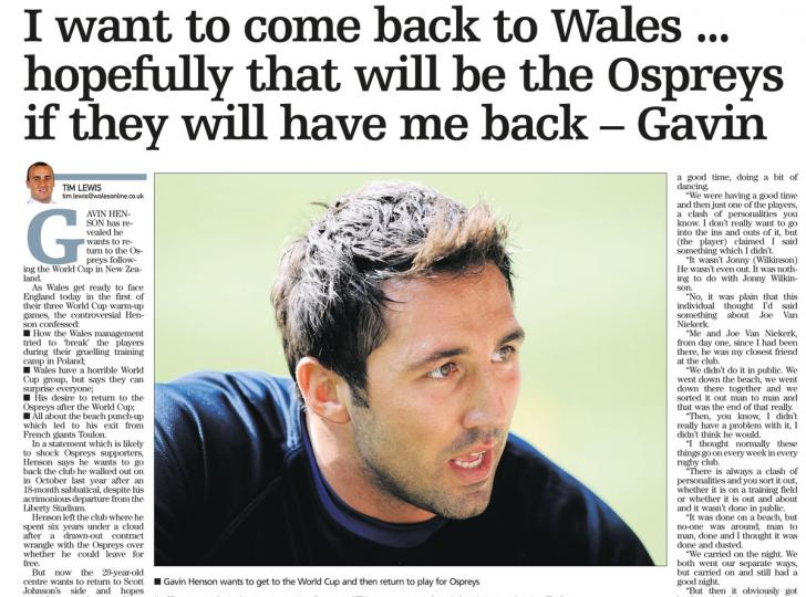Henson Interview: Wales online