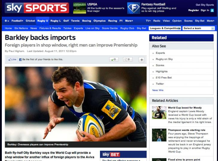 Olly Barkley's Column covered by Sky Sports  (11/8/11)